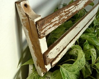 """Antique Wall Shelf Wood Perfect Chippy White Paint 26"""" long"""