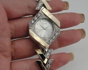 NEW Original Handmade Fine 925 Silver and 9K Yellow Gold Bracelet Watch (s w260)