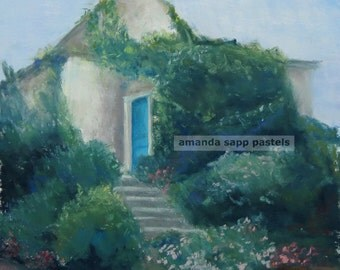 Blue Door in Giverny archival print of original pastel painting