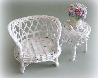 1:6 Scale Doll Furniture Miniature Furniture Doll Chair Miniature Chair Mini Furniture White Sofa Loveseat Settee Bench Couch Wicker Barbie