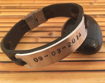 Hand stamped personalized leather bracelet - men's personalized bracelet - women's personalized bracelet -  engraved coordinate bracelet