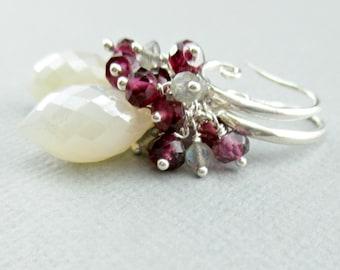 Pearl Chalcedony Earrings, Labradorite Garnet Cluster Earrings, Sterling Silver Jewelry, Wire Wrapped, White Gemstone Earrings, White Dangle
