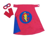 Kids Easter gift RED and BLUE Personalized Boy Superhero Cape Set - comes with FAST Delivery 26 inches - Custom Letter