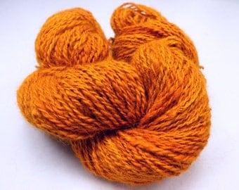 Pumpkin Orange Handspun Pure Angora Yarn