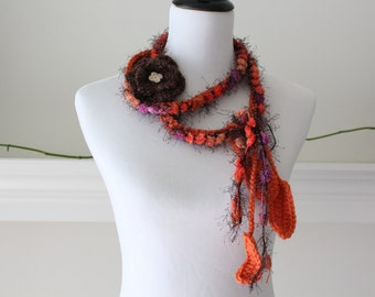 Crochet Pumpkin Lariat, Necklace, Scarf, Scarflette
