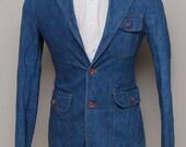 Vintage men's blue denim blazer/ Vint men's denim blazer/ Sears Tailored Fashions