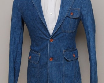 Vintage men's blue denim blazer/ Vint men's denim blazer/ Sears Tailored Fashions