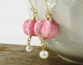 Pink Glass and Freshwater Pearl Earrings; White freshwater Pearl Earrings, Wedding Earrings, Bridal Jewelry