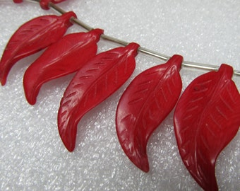 Coral Beads 40 x 18mm Rust Red Delicate Hand Carved Leaf Focal Coral Bead - 4 Piece
