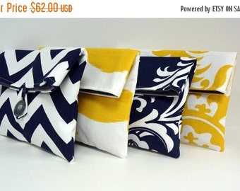 ON SALE Navy and Yellow Bridesmaid Clutch Set of 4 / Navy and Yellow Wedding / Bridesmaid Gift