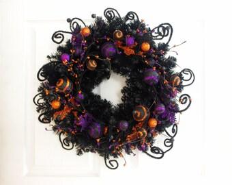 Whimsical Halloween Wreath * Halloween Decor * Black Orange and Purple Wreath * Black Wreath * Front Door Wreath * Orange Wreath