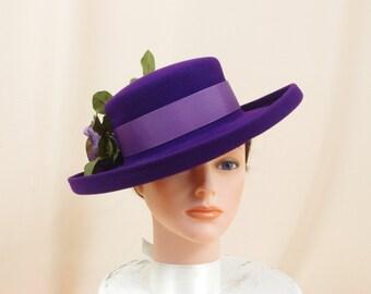 Deep Purple Wool Hat * Vintage 60s Wool Hat * Formal Hat * Fashion Hat * Church Hat * Purple Hat * Ascot Hat * 1960s Hat * Wide Brim Hat