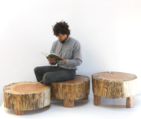 Large Tree Stump Coffee Table: Coffee Table Stump Trio Modular Modern Organic By