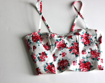 White Rose print bustier crop top / Floral Sleeveless summer top