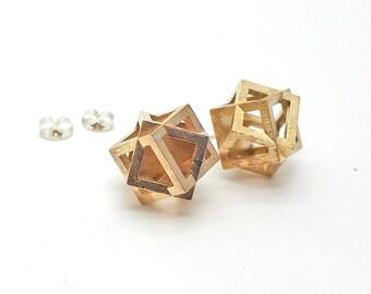 Cube Earrings // 3d printed steel brass sterling silver // contemporary geometric jewelry