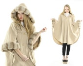 Vintage 80s Hooded Fur Cape Tan Wool Long Cloak Poncho Shawl Winter Cocoon Coat 1980s ALORNA Small Medium Large S M L