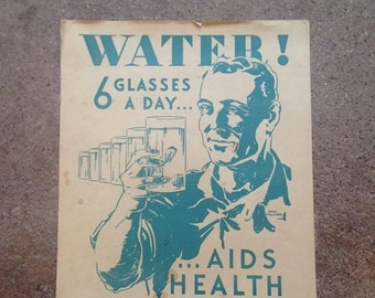 ON SALE 40% OFF 1930's Water! Poster - Harold Cressingham - Original U.S. Depression era