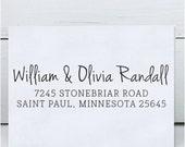 Custom Address Stamp, Calligraphy Address Stamp, Wedding Address Stamp - Eco Mount Rubber Address Stamp  - Olivia
