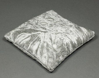3.5 Inch Small Size Silver Crushed Velvet Crystal Pillow Sphere or Point Display Stand, CPV39S