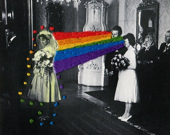 Embroidered Vintage Photograph, Hand Sewn Paper, Handmade Embroidery, Rainbow, Modern Art, Mixed Media, Kunst, Sci Fi, Transmutation, Weird