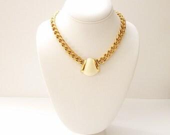 Vintage Monet Gold Chain Choker Necklace with Cream Enamel Pendant