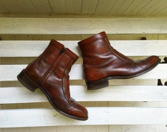 Vintage brown leather ankle boots, booties, mens shoes size 8, 9