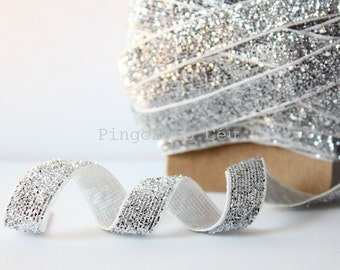 10mm - Glitter Ribbon - Silver ribbon - Craft Projects - Packaging Supplies - 2 meters - Ready to ship.