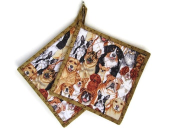 "Dog Lover's Potholder ""Dogs II"" Quilted Hot Pad, Heat Resistant Potholder, Kitchen Decor, Quiltsy Handmade, Fabric Trivet"