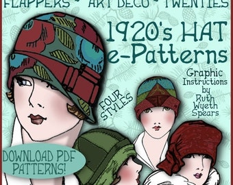 Sew 4 Vintage 1920s Downton Abbey FLAPPER CLOCHE Hat e-Patterns (Shirley Set) PDF A