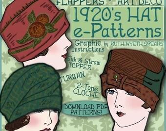 Vintage 1920's Flapper Hat CLOCHE Turban e-Patterns PDF (Marjorie Set)