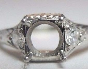 Antique Diamond Platinum Art Deco Engagement Ring Setting | Will Hold 6.5MM | ES- 158