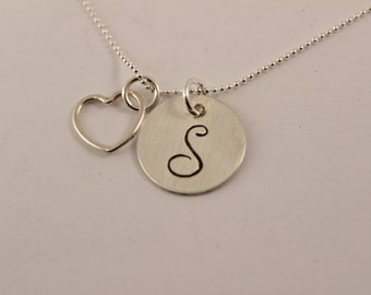 Initial Necklace with open heart charm - Hand stamped - Sterling Silver