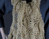 Vintage Hairpin Lace Shawl Wrap Off White Wool Blend Fringed Ends