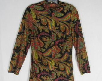 Black Paisley Tunic Blouse M Vintage Jersey Knit Front Zipper Long Sleeve