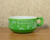 Vintage Soup Bowl Cup Milk Glass Las Vegas Souvenir Advertising