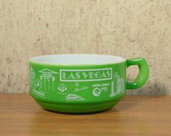Vintage Soup Bowl Cup Milk Glass Las Vegas Souvenir Advertising