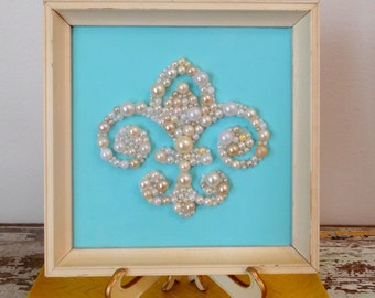 Fleur de Lis Picture - Mosaic Art - French, France, Paris Wall Art - Glitter Art - Nursery Decor - Pearl Picture - Pastel Blue White Decor