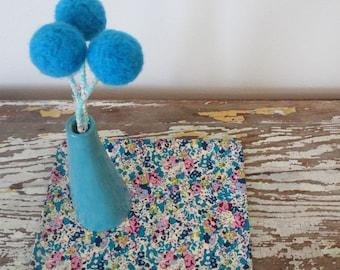 Turquoise Pom Pom Flowers - Fake Flowers - Modern Bouquet - Turquoise Blue Wedding Bouquet, Centerpiece - Something Blue - Felt Ball Flowers