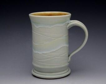 Coffee Mug 10 oz. Handmade Porcelain in Frosted Aqua Celadon by Diann Adams