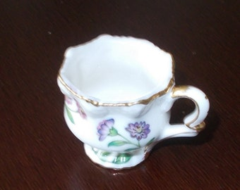 Vintage Teacup Tiny Little tea cup with Pink Flowers and Gold Trim