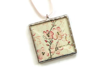 Flower ornament, Japanese blossom ornament, stained glass ornament, Spring pink flowers, mini framed wall art