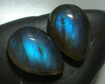 LABRADORITE Smooth Teardrop Cabochon, One Matching Pair, 14x10mm, AAA+, Flashing Fiery Blue