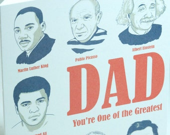 SALE - Letterpress Father's Day Card - Greatest Dad - 50% off