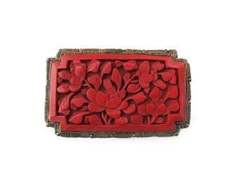 Chinese Cinnabar Brooch, Chinese Export, Red Cinnabar, Floral Motif, Gilt Brass, Marked China, Antique Jewelry, Vintage Brooch