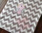 Bird Baby Blanket- Personalized Baby Blanket- Minky Baby Blanket- Chevron Minky Blanket- Applique Baby Blanket- Custom Blanket-