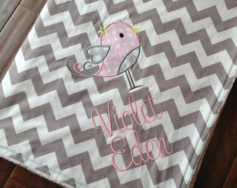 Bird Baby Blanket- Personalized Baby Blanket- Minky Baby Blanket- Chevron Minky Blanket- Applique Baby Blanket- Custom Blanket-
