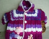 Crochet sweater newborn, baby cardigan, heart bobs Girls' Clothing Sweaters, Clothing dress, knit baby clothing, READY TO SHIP 3-9 M