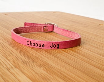 Choose Joy Custom Skinny Adjustable Leather Bracelet Pink