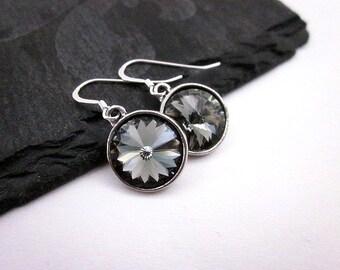 Black Diamond Earrings -- Silver & Grey Drop Earrings -- Black Diamond Swarovski Crystal Earrings -- Sparkling Grey Earrings