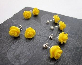 Sterling Flower Stud Earrings -- Yellow Rose Stud Earrings -- Yellow Jewelry Party Favor -- Yellow Flower Post Earrings --Yellow Party Theme